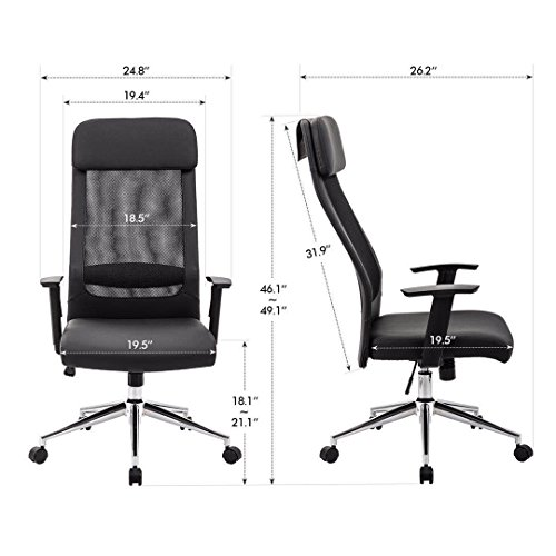 KADIRYA Extra High Back Mesh Office Chair - Computer Desk Task Chair with Padded Leather Removeable Headrest and Seat,Adjustable Armrest, Ergonomic Design for Back Lumbar Support, Black (Black) Photo #3