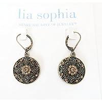 Lia Sophia Earrings ROSETTE Antique Filigree Flowers On original Card