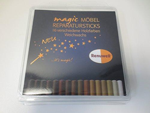 Renuwell Magic Möbel Reparatur-Sticks Weichwachs Set 19-teilig Parkett Holz