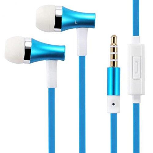 Premium Sound Blue Earbuds Handsfree Earphones Mic Metal Hea