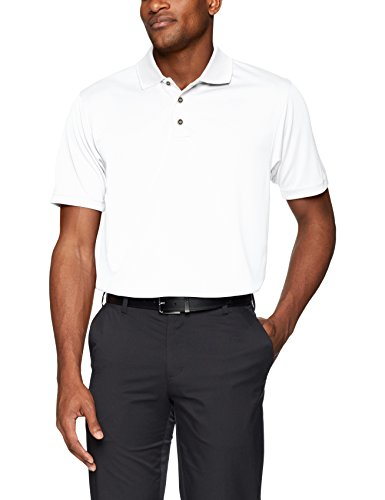 Men's Pebble Beach Golf Polo Shirt with Short Sleeve and Horizontal Textured Design, White, X-Large