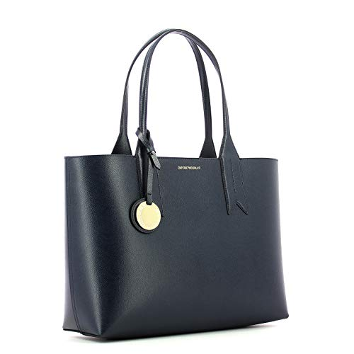 Armani Emporio Shopping Handbag Femme Bleu Noir Logo Marine 48qAwr8d