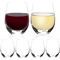 [6-Pack,18 Oz]DESIGN·MASTER- Classic Stemless Wine Glasses, Drinking Glasses, Ideal for Red and White Wine, Cocktail…