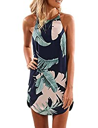 Women's Summer Halter Neck Floral Print Sleeveless Casual...