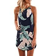 Asvivid Halter Palm Leaf Floral Casual Dresses for Women Summer Beach Dress Sleeveless Short Sund...