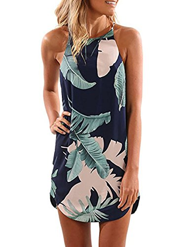 Asvivid Women's Halter Neck Sleeveless Chiffon Tropical Palm Print Dress Casual Sundress X-Large - Womens Dress Print Tropical