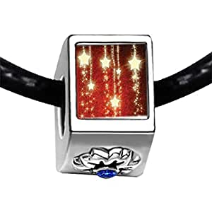 Chicforest Silver Plated Christmas Shinning Star Photo Sapphire Crystal September Birthstone Flower Charm Beads Fits Pandora Bracelet