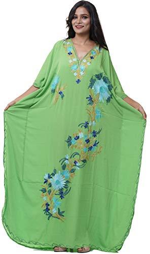 3c06d9c5d7 Odishabazaar Cotton Kashmiri Aari Work Designer Kaftan Maxi Dress Beachwear Cover  Up + Owl Earring (