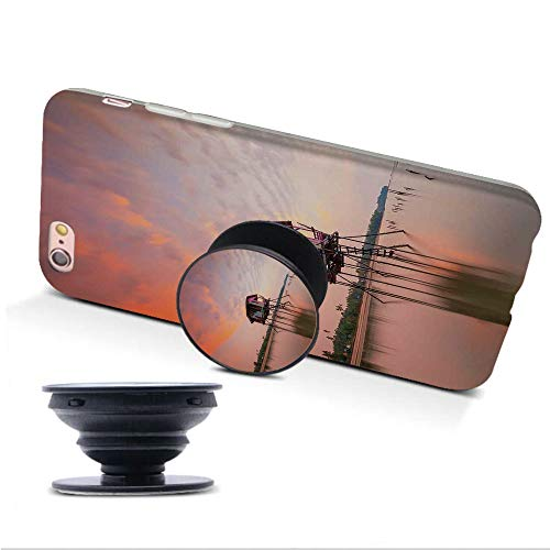 iphone7/8 Case with Collapsible Grip&Stand/Rustic Home Decor/Single House at Sunset After Flash Flood Water in Asian Malaysian Village/Multi/Compatible with iphone7/8(TPU Case/White)