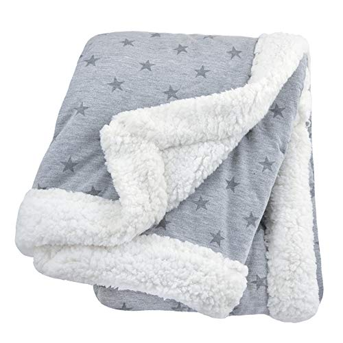 Heather Blanket (Just Born 2-Ply Plush Blanket, Grey Stars, One Size)