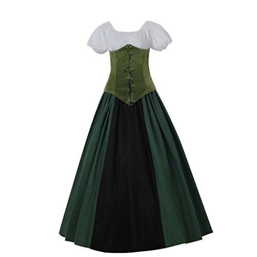 DUNHAO COS Women's Medieval Corset Dress Gothic Viking Dress Costume (Custom Made, (Custom Costumes Corset)