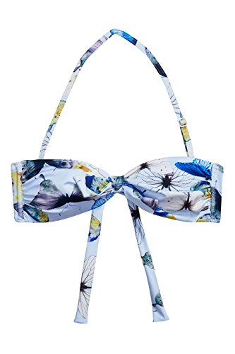 next Mujer Top De Bikini Bandeau Estampado Corte Regular Azul /Blanco