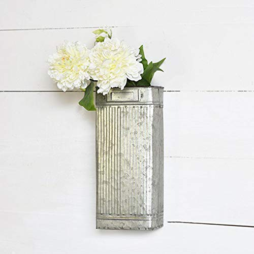 Tin Stem Pocket Vase - Rustic Farmhouse Metal Wall or Standing Vase - 12 Inch Tall