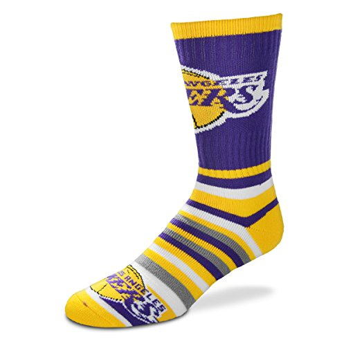 For Bare Feet Lotta-Stripe Youth Size 13, 1-5 Kids Socks (4-8 YRS) - Los Angeles Lakers (La Lakers Socks)