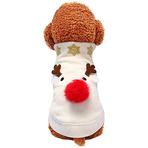 Dog Christmas Costume Pet Elk Clothes, Dog Xmas Outfit Fleece Winter Coat Fit for Puppy -