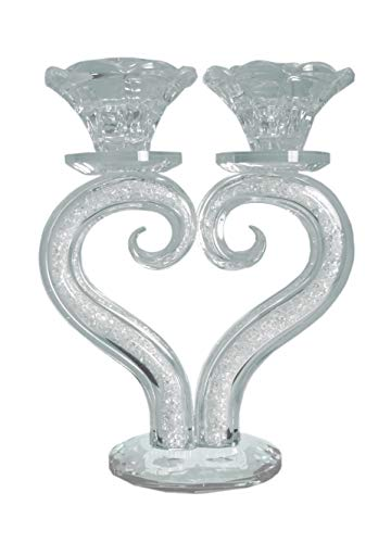 Crystal Filled Heart - Housewares collections Elegant Heart Shaped Candle Holder - Thick Crystal Filled and Comes in Beautiful Gift Box