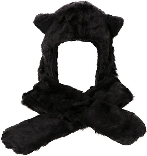 Simplicity ultifunction Animal Hats as Earmuffs, Scarf, Gloves, Black Cat