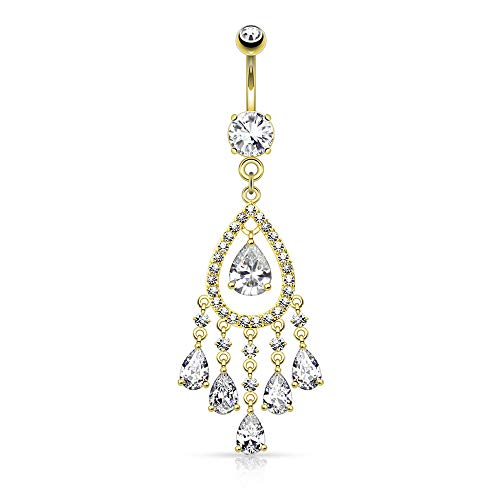 Dynamique 14G Multi Tear Drop and Round CZ Set Chandelier Dangle Belly Button Navel Ring (Gold/Clear)