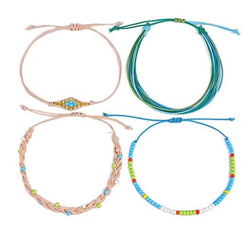 Lateefah Braided Rope Bracelet Handmade Waterproof Wave Strand Bracelet Adjustable Friendship Bracelets for Women Kids