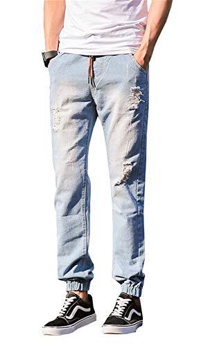 2018 Pantalones De Mezclilla Rasgados Moda Pantalones Elásticos Tamaños Cómodos Flacos Casuales Pantalones De Carga Tobillo Pantalones Vaqueros Elásticos Hombres Elegantes Ropa Blau-1