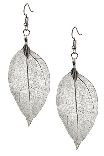 SPUNKYsoul Leaf Filigree Earrings Lightweight Silver, Gold and Gun Metal & Rose Gold Fishhook Earwire Gift for Women Collection (Earrings -