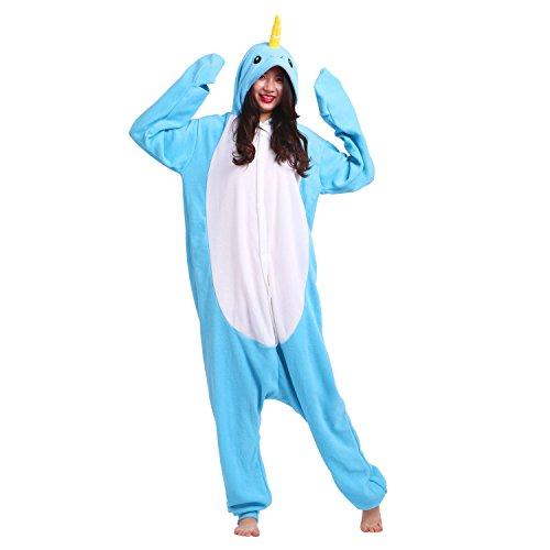 PALMFOX Women's Soft Fleece Narwhal Animal Cartoon Onesie Adult Pajamas Cosplay Costumes (Narwhal Halloween Costume Cartoon)
