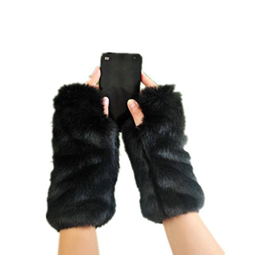 Women Winter Faux Fur Oversleeve Hand Muff Wrist ArmWarmer Cuff Cover Fuzzy Furry Wristband lengthened Thick Warm Gloves Black