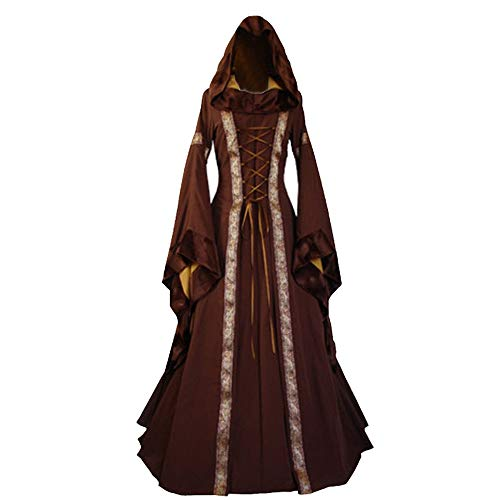 Halloween Women Medieval Dress Renaissance Lace Up Vintage Style Gothic Dress Floor Length Women Hooded Cosplay Dresses Retro (Brown B, L) -