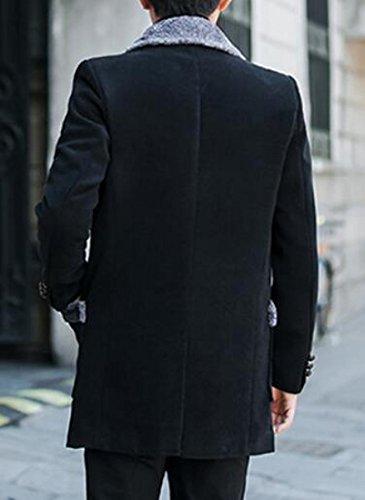 Mens today Sleeve Warm Lapel Black Wool Lined UK Long Pea Fleece Winter Jacket Blend 4rqBA5qp