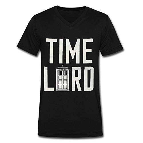 Soulya Men's Doctor Who Time Lord Korea Short Sleeve Cotton V Neck T Shirt Size S US Black (Time And Relative Dimension In Space T Shirt)