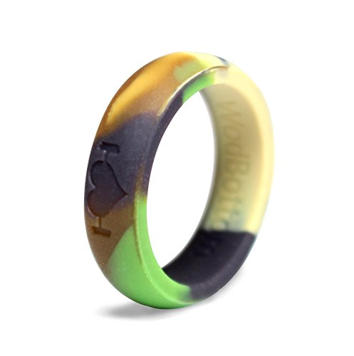 Silicone Wedding Rings for Women, Silicone Rings Perfect for Crossfit, Wods, Sports, Outdoors. Replace Your Wedding Band with a Hypoallergenic, Medical Grade Silicone Wedding Ring. (Camo, 6)