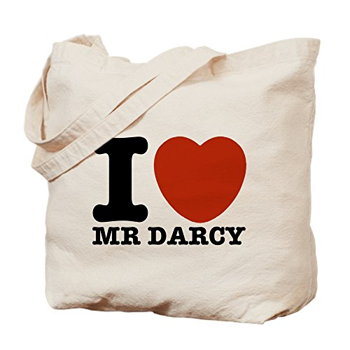 CafePress I Love Darcy Jane Austen Natural Canvas Tote Bag, Cloth Shopping Bag