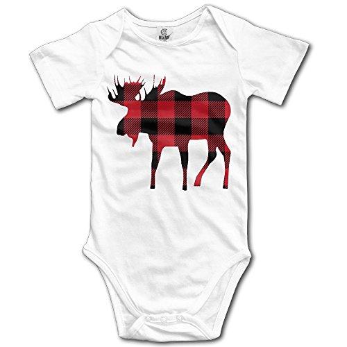 Couples Costume Lumberjack (Infants Boy's & Girl's Buffalo Plaid Moose Lumberjack Red Black Short Sleeve Bodysuit Outfits For 6-24 Months)