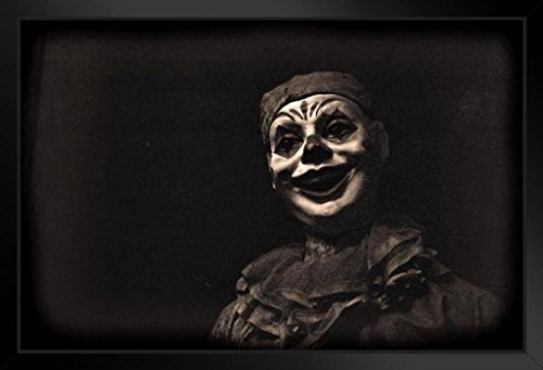 Creepy Carnival Clown Black and White B&W Photo Art Print Framed Poster 20x14 inch ()