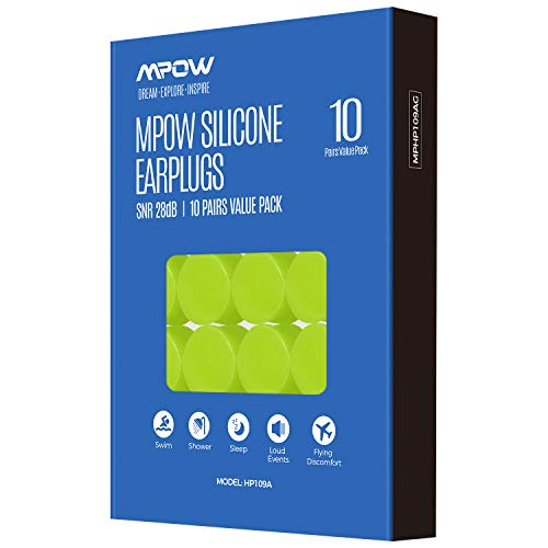 Mpow Swimming Earplugs 10 Pairs for Adults, Moldable Soft Silicone Ear Plug Waterproof with a Portable Case, SNR 28dB Noise Reduction Water-Block Ear Plugs for Swimming, Showering, Sleeping-Green