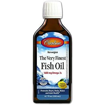 Carlson Labs Very Finest Fish Oil Nutritional Supplement, Lemon, 6.7 Fluid Ounce