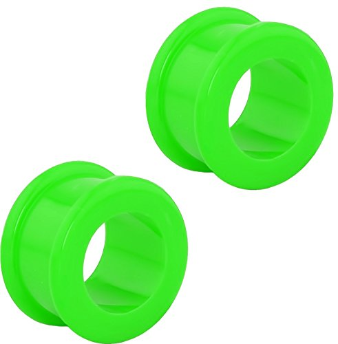 Forbidden Body Jewelry Set of Green 9/16 Inch Ultra Soft Comfort Fit Silicone Ear Gauges, 14mm Flat Double Flared Tunnel Plug Earrings