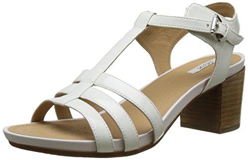 Geox D Symi C, Sandalias con Cuña para Mujer Blanco (WHITEC1000)