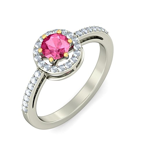 14 K Or blanc, 0.24 carat Diamant Blanc (IJ | SI) Tourmaline Rose et diamant Bague