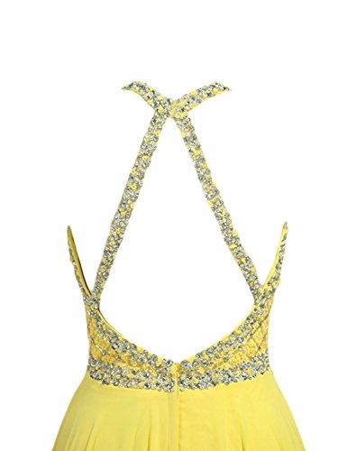 Kleid R¨¹ckenfrei Gelb Abiballkleid Changjie Brautjungfernkleider Abendkleider Kristall Damen Linie Chiffon A Langes Perlen a5axt7
