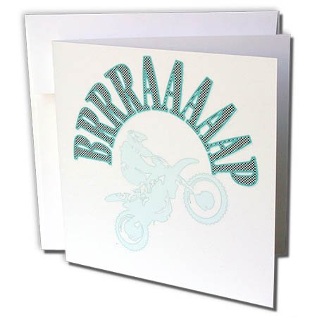 3dRose Taiche - Vector - Motocross - Aqua Brrraaaaap Checkered Flag Moto Language - 1 Greeting Card with Envelope (gc_284715_5)