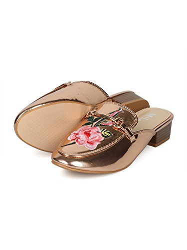Low Alrisco Women Heel Horsebit HH90 Metallic Mule Rose Embroidered Rose Gold xIawICrPcq