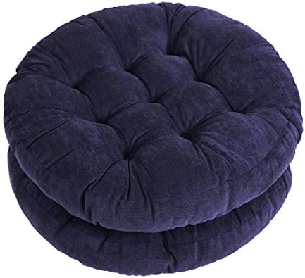 Tiita Floor Cushion 22 x22 Round Patio Chair Cushions Indoor Outdoor Seat Pillows Meditation Pads for Yoga Living Room Sofa Set of 2, Navy Blue
