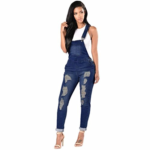 Rambling Fashion New Womens Denim Ripped Hole Bib Overall Jumpsuit Casual Jeans (French Flared Jeans)