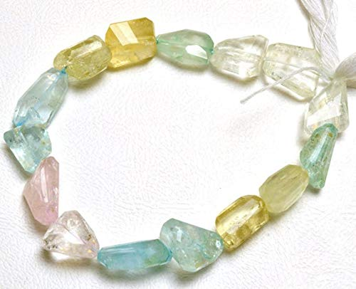 GemAbyss Beads Gemstone 1 Strand Natural 9 inch Natural Gemstone Super Quality Multicolor Aquamarine Faceted Nuggets Beads 12 to 20 MM - Aquamarine Bead Nugget Faceted