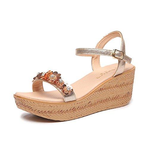 GAIHU Sandales plage plate avec sandales coin des de Gold épais En forme à muffin 8cm 6 fleurs chaussures fond L'été pxwZnrq4p