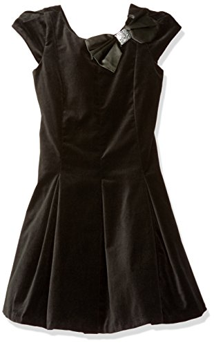 Biscotti Big Girls' Vision in Velvet Capsleeve Bow Dress, Black, 12 by Biscotti