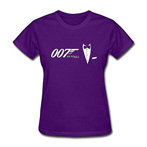 DASY Women's O Neck James Bond Tees Large Purple