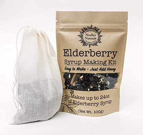 Organic Elderberry Syrup Kit - Makes 24oz of Syrup - Includes FREE Brew Bag - DIY - Natural Immune Support - Elderberries - Ginger - Cloves - Cinnamon Sticks - Organic Spices