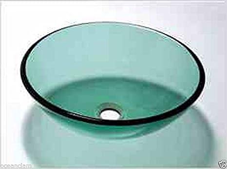 Rotondo verde vetro lavabo design ciotola banco da lavoro lavello da